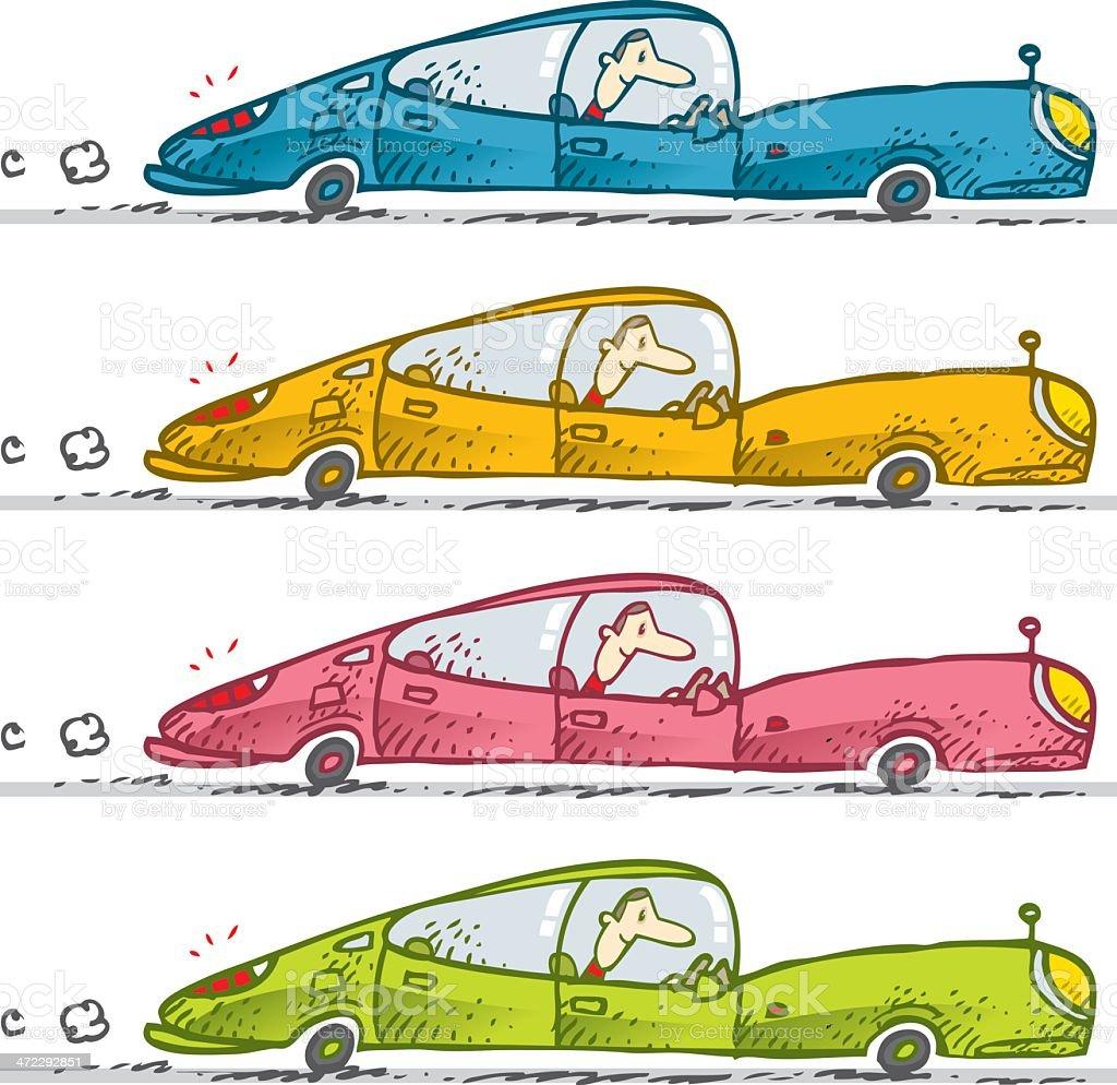 rickety car set vector art illustration