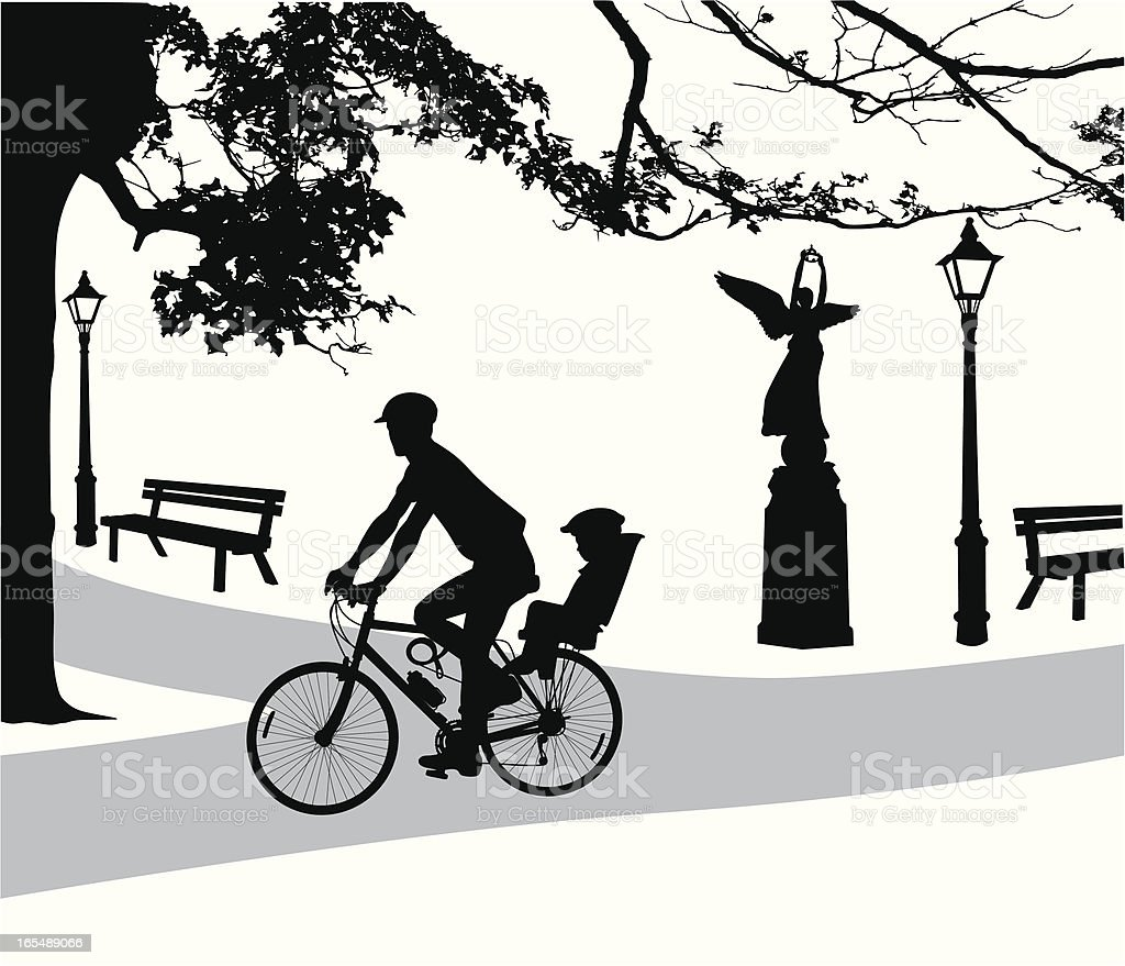 Ride In The Park Vector Silhouette royalty-free stock vector art