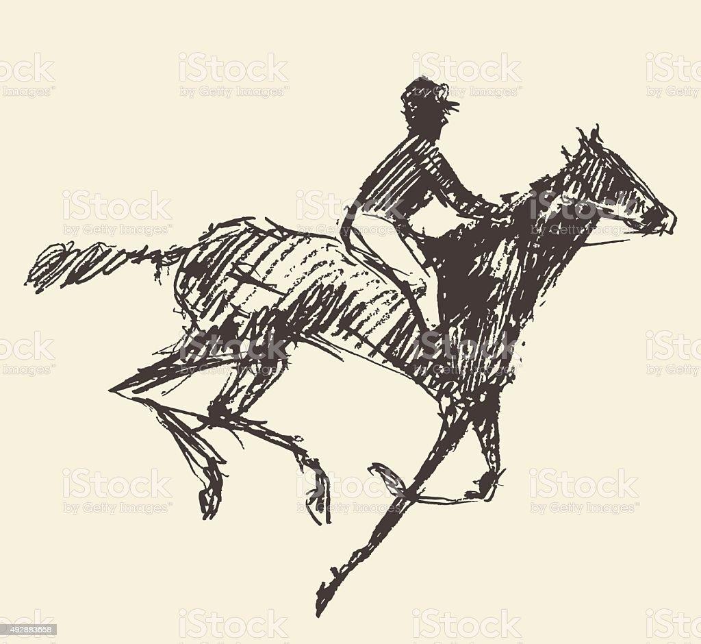 Rider horse jockey retro style hand drawn sketch vector art illustration