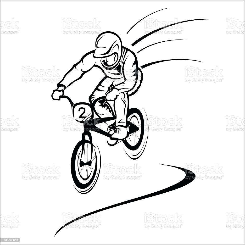 Rider on bike royalty-free stock vector art