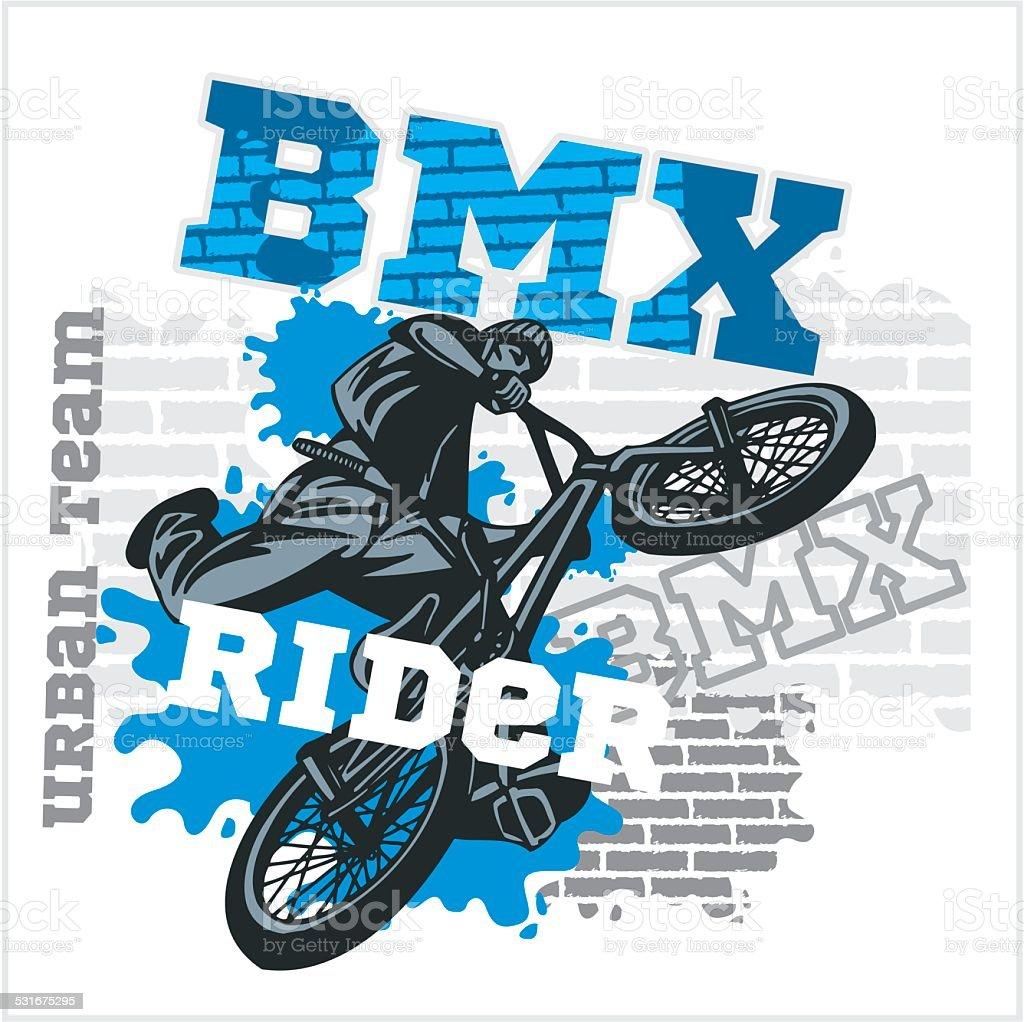 BMX rider - urban team. Vector design. vector art illustration