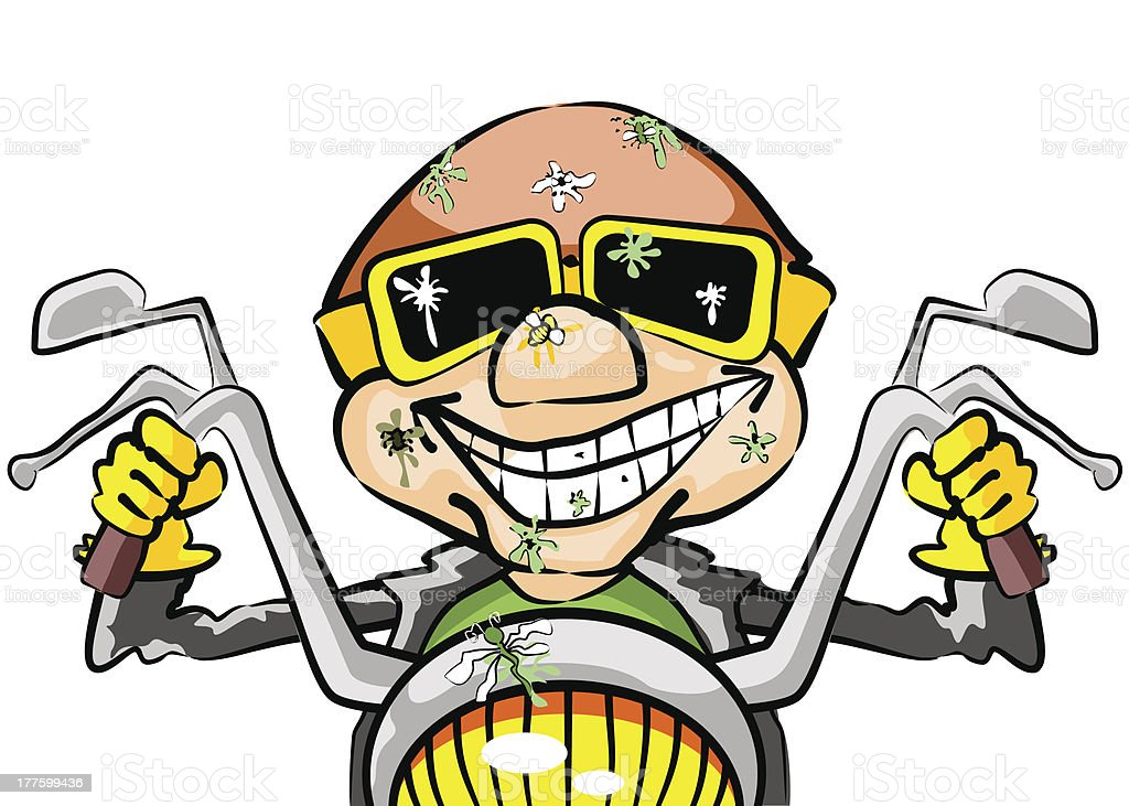 Rider with insects hitting in the face vector art illustration