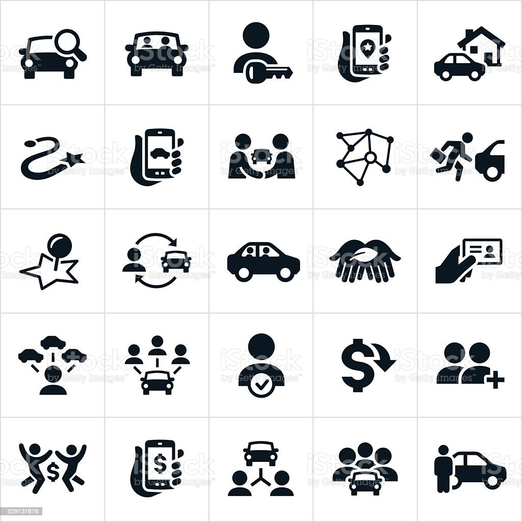 Ridesharing and Carpooling Icons vector art illustration