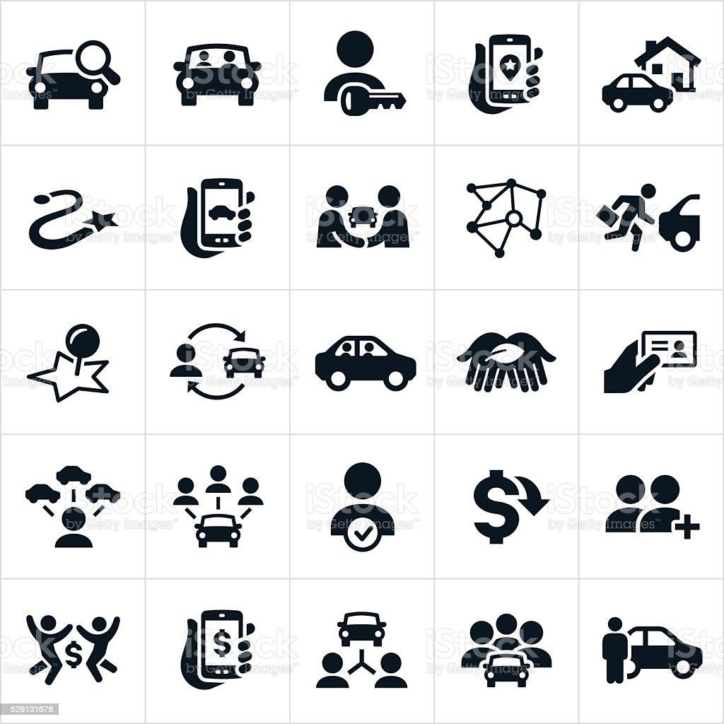 Ridesharing and Carpooling Icons vector art illustration