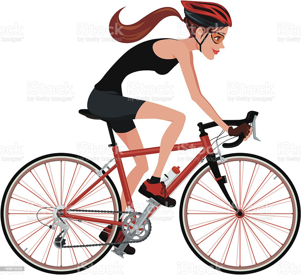 riding a bicycle vector art illustration