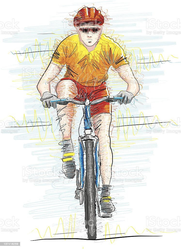 Riding a Bike royalty-free stock vector art