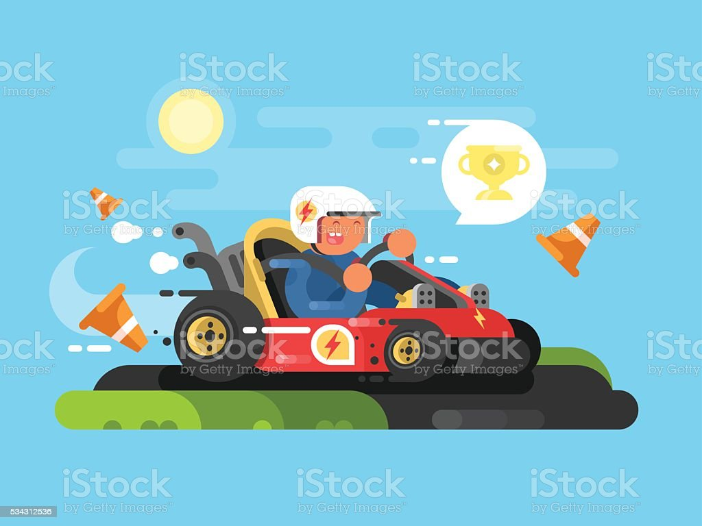 Riding a karting design flat vector art illustration