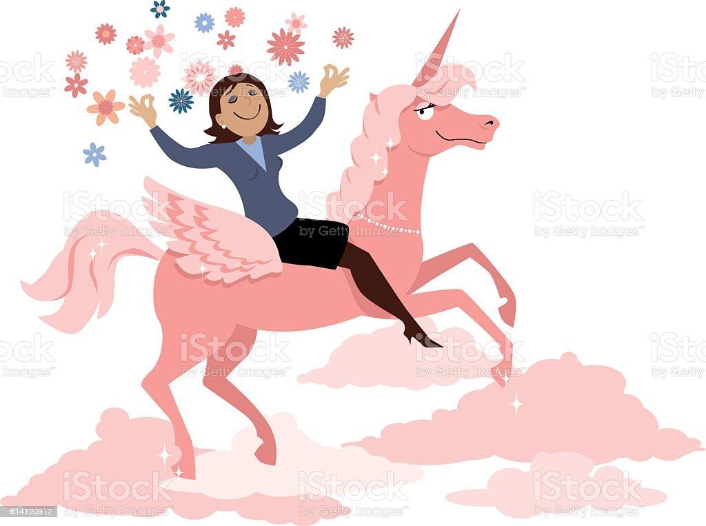 Riding a unicorn vector art illustration