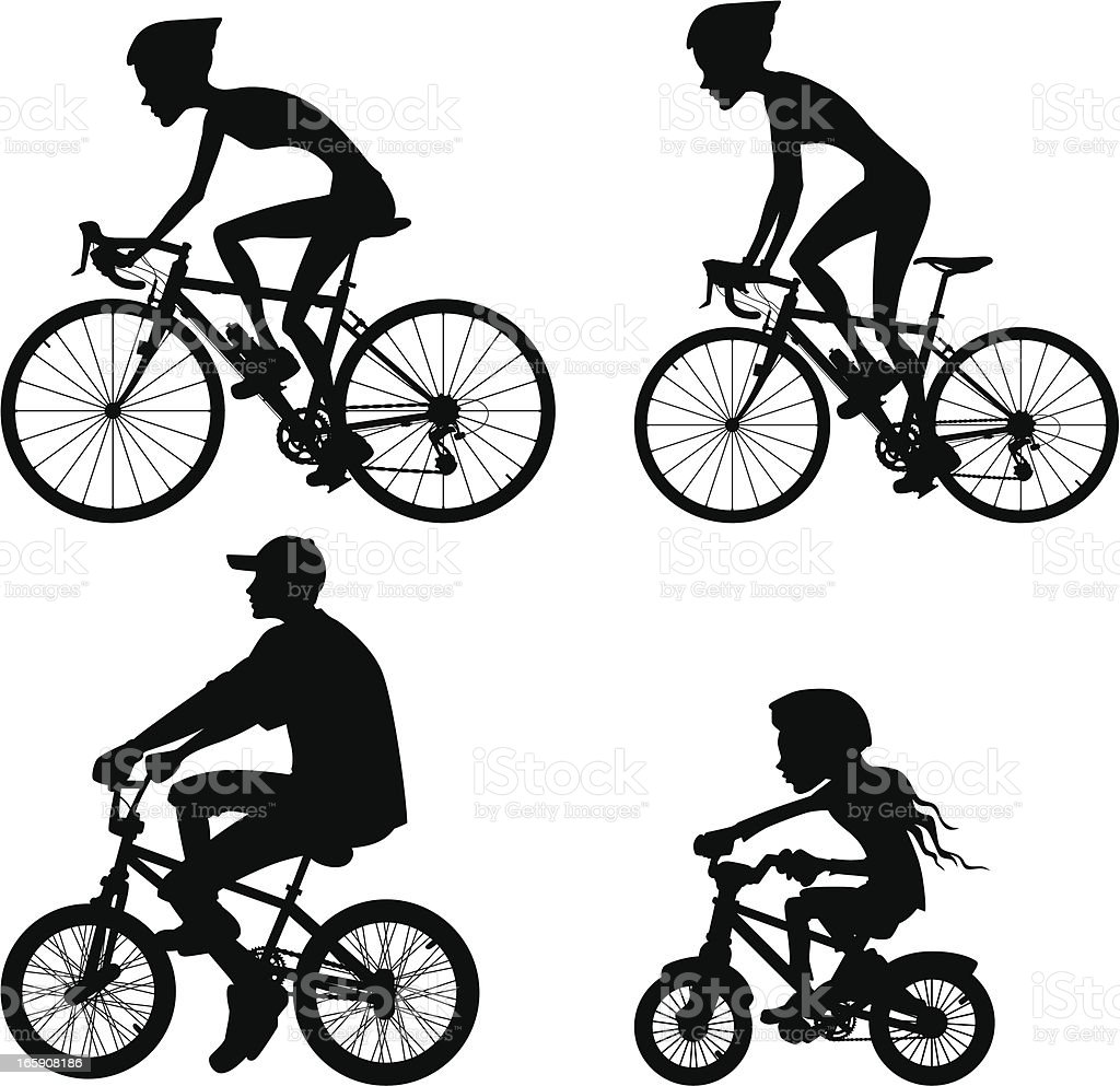 Riding bicycle silhouette collection royalty-free stock vector art