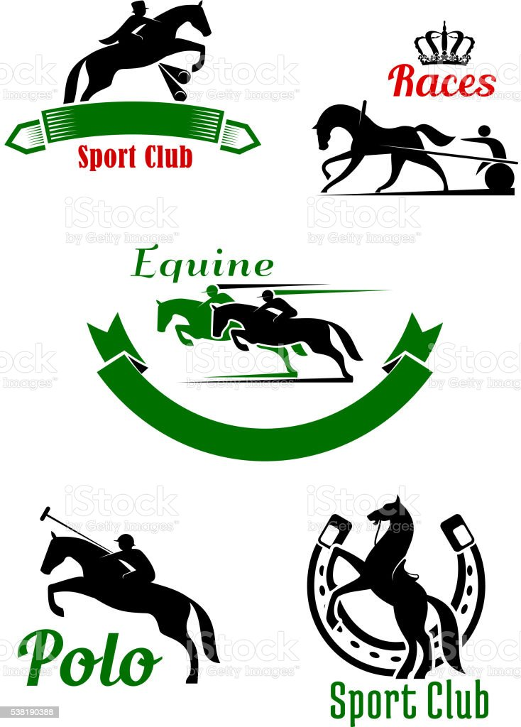Riding club, horse racing and polo game design vector art illustration