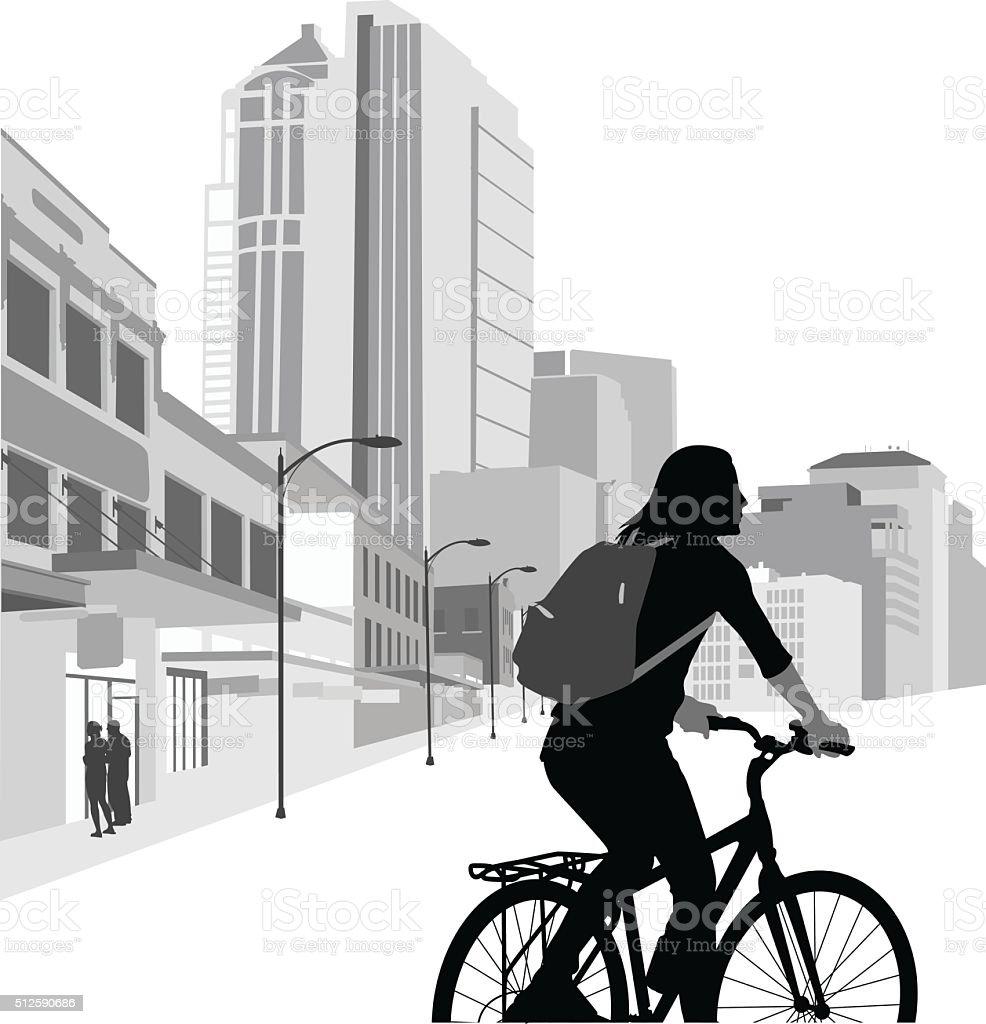 Riding Downtown vector art illustration
