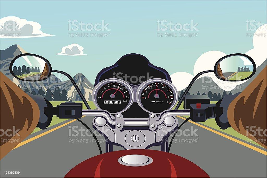 Riding motorcycle vector art illustration