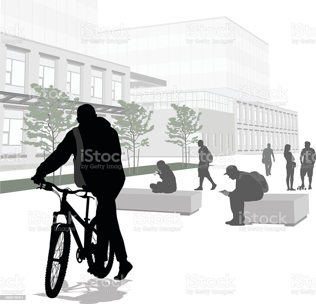 Riding My Bike To School vector art illustration