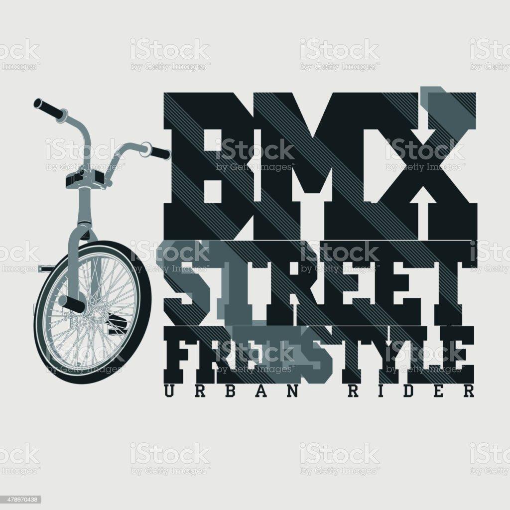 BMX Riding Typography t-shirt, vector vector art illustration