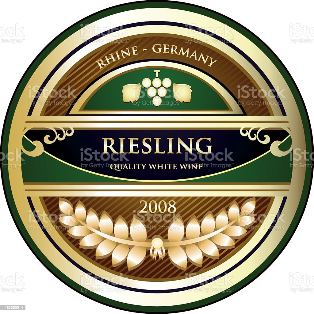 Riesling Gold Label vector art illustration