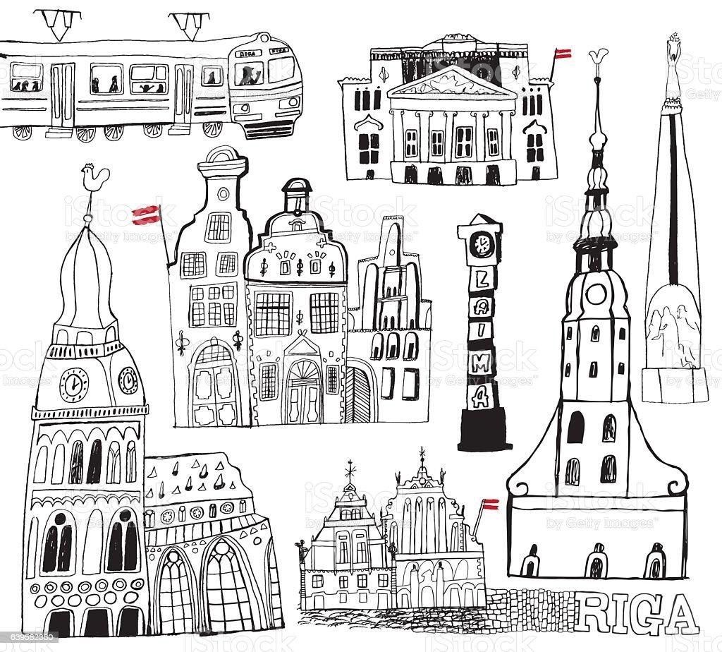 Riga in Latvia vector art illustration