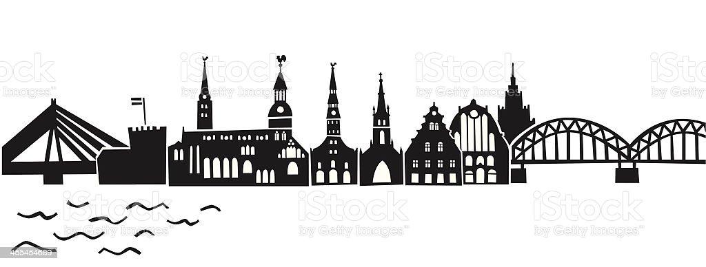 Riga skyline vector art illustration