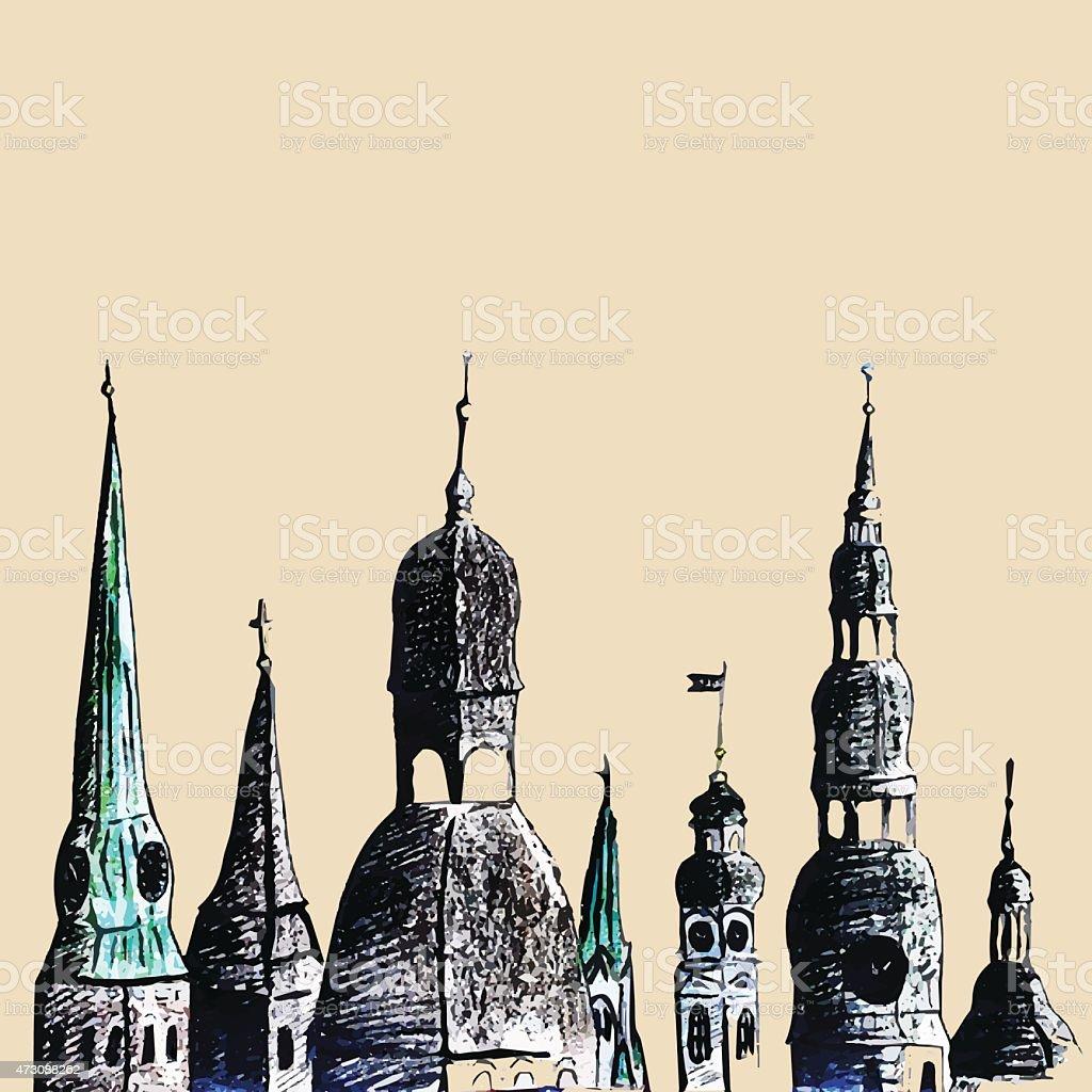 Riga towers vector art illustration