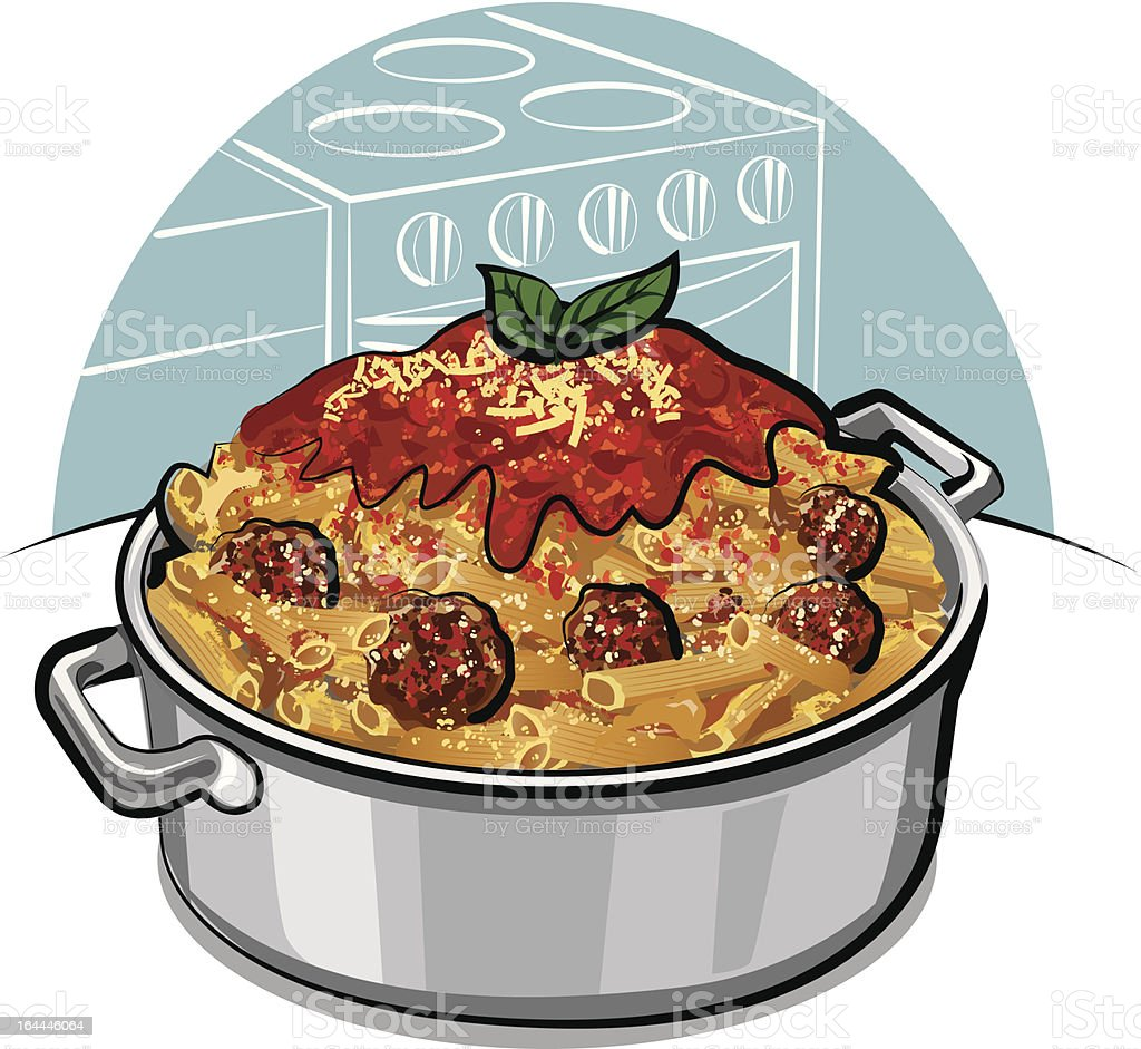 rigatoni pasta vector art illustration