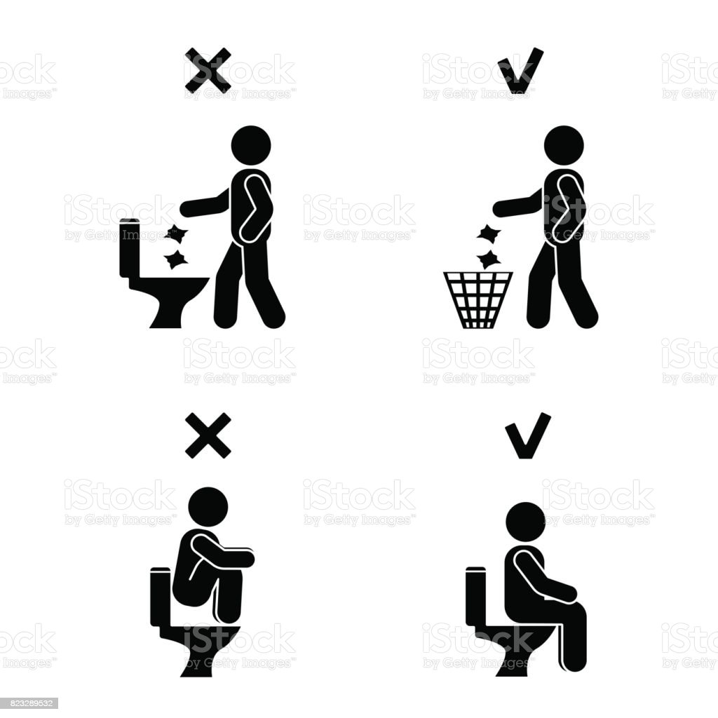 Bathroom Sign Person right and wrong man people position in closet posture stick figure