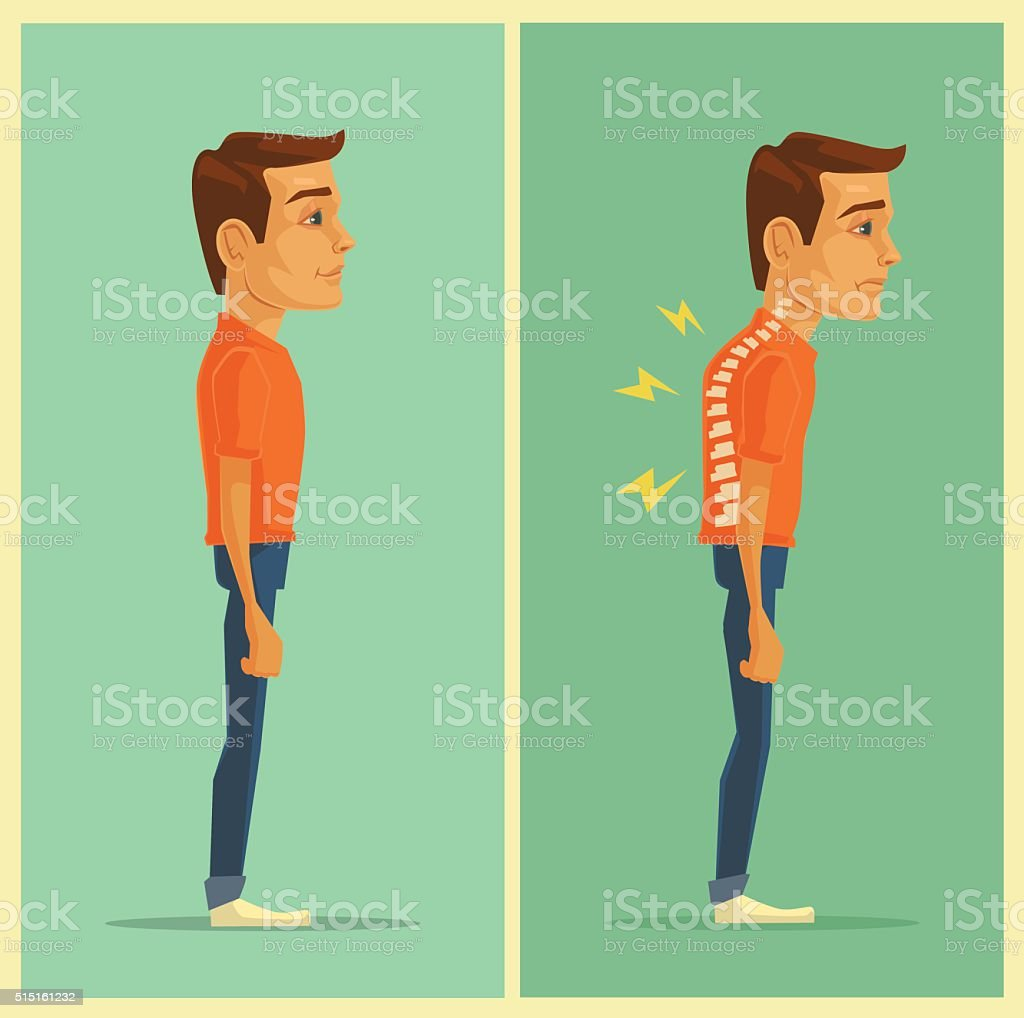 Right and wrong posture. Vector flat illustration vector art illustration