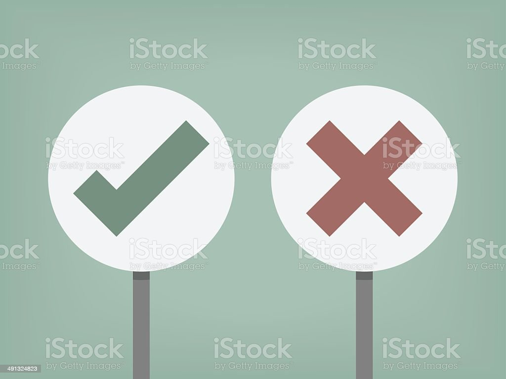right and wrong sign vector art illustration