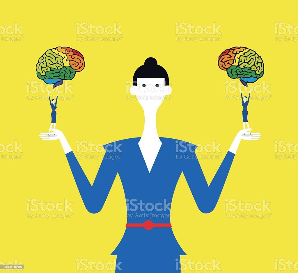 Right brain and left brain vector art illustration