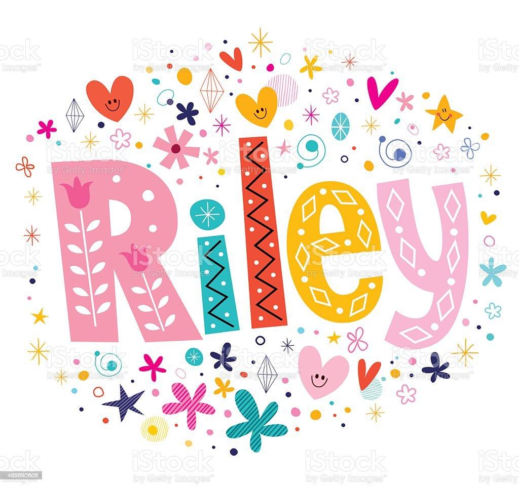 Riley girls name decorative lettering type design vector art illustration