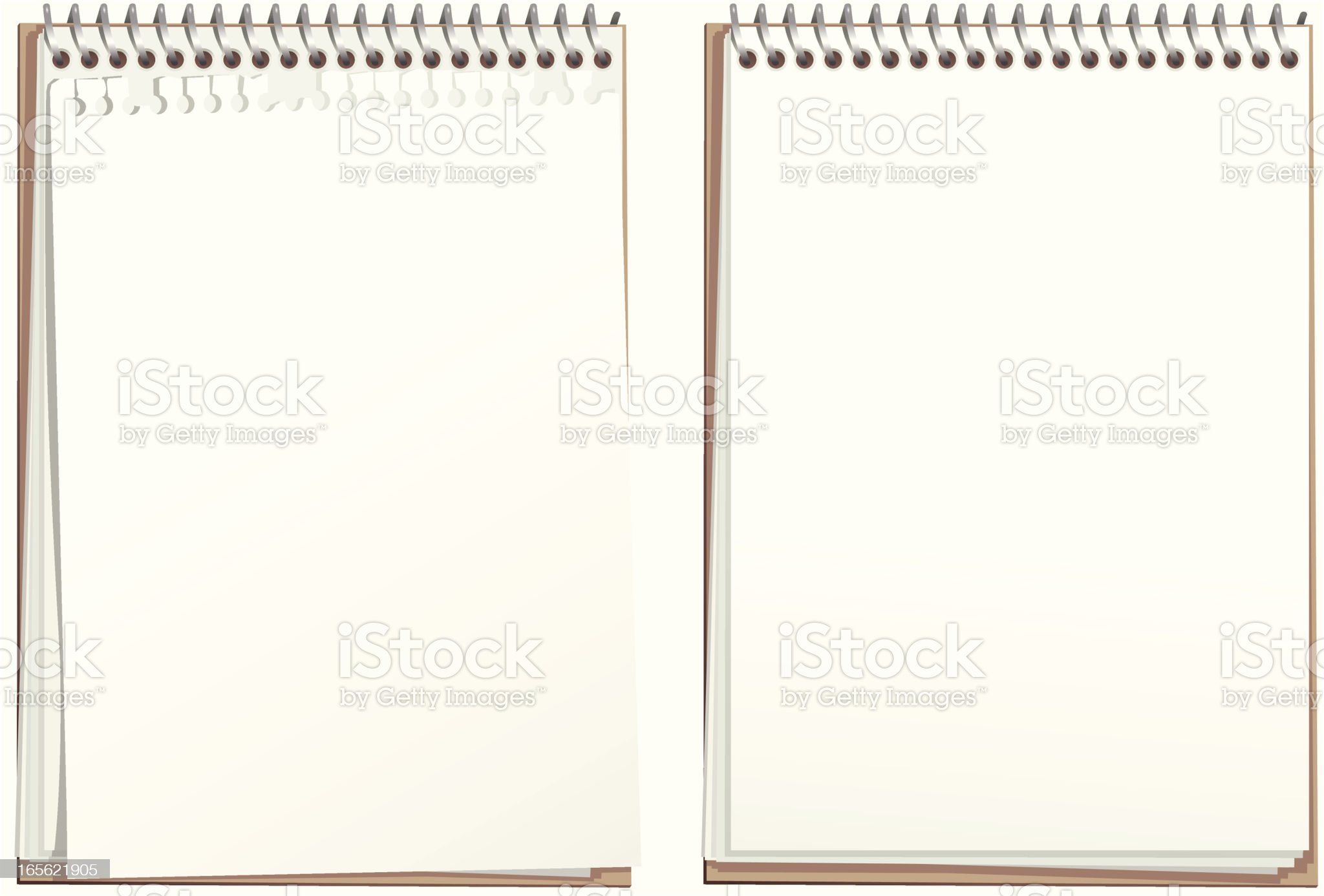 Ring bound white paper note pad royalty-free stock vector art