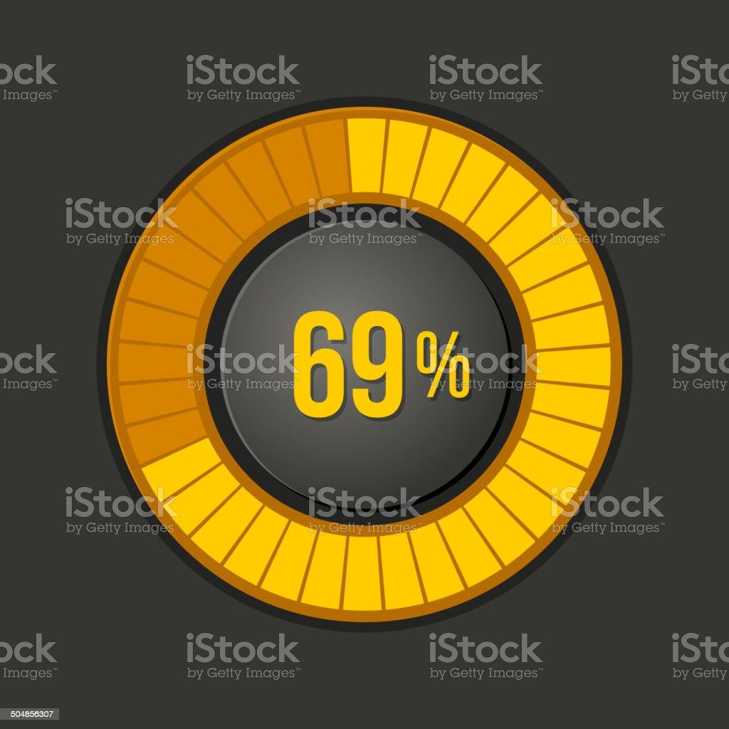Ring Loading Progress Bar on Dark Background. Vector royalty-free stock vector art