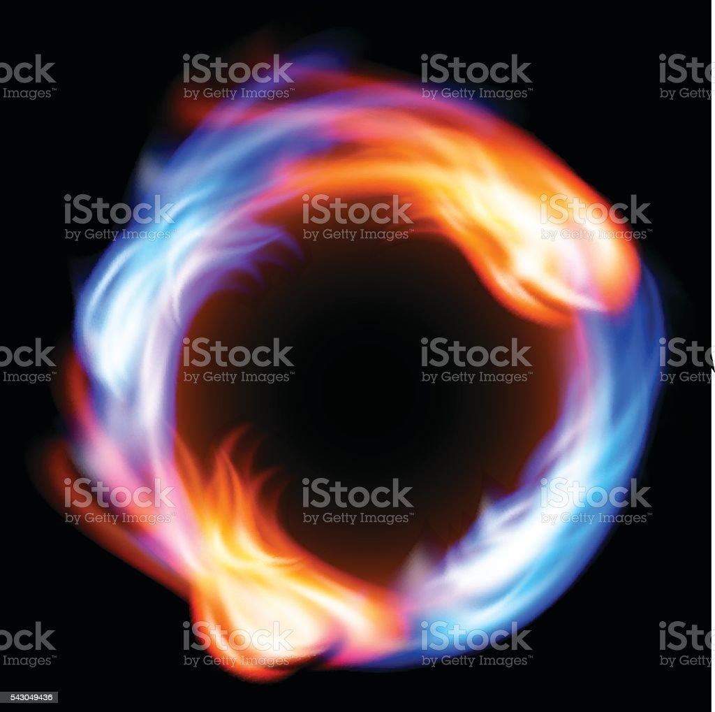 Ring of fire in black background vector art illustration