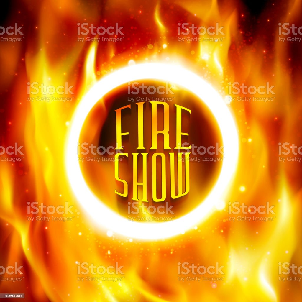 Ring of fire. Vector fiery circle on poster for circus. vector art illustration