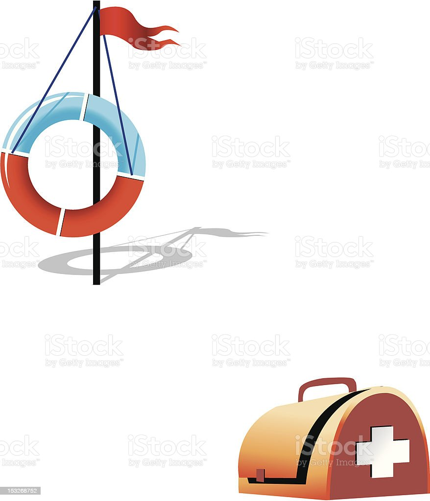 Ring-buoy and first-aid set royalty-free stock vector art