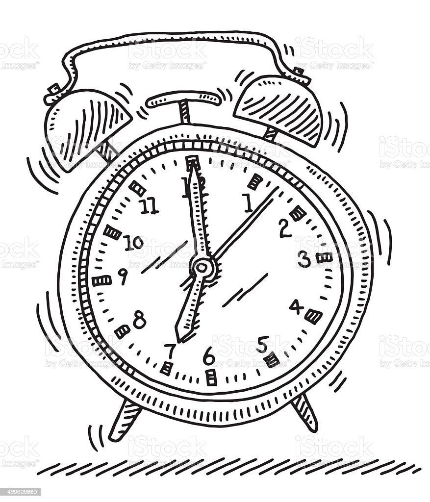 Ringing Alarm Clock Drawing vector art illustration