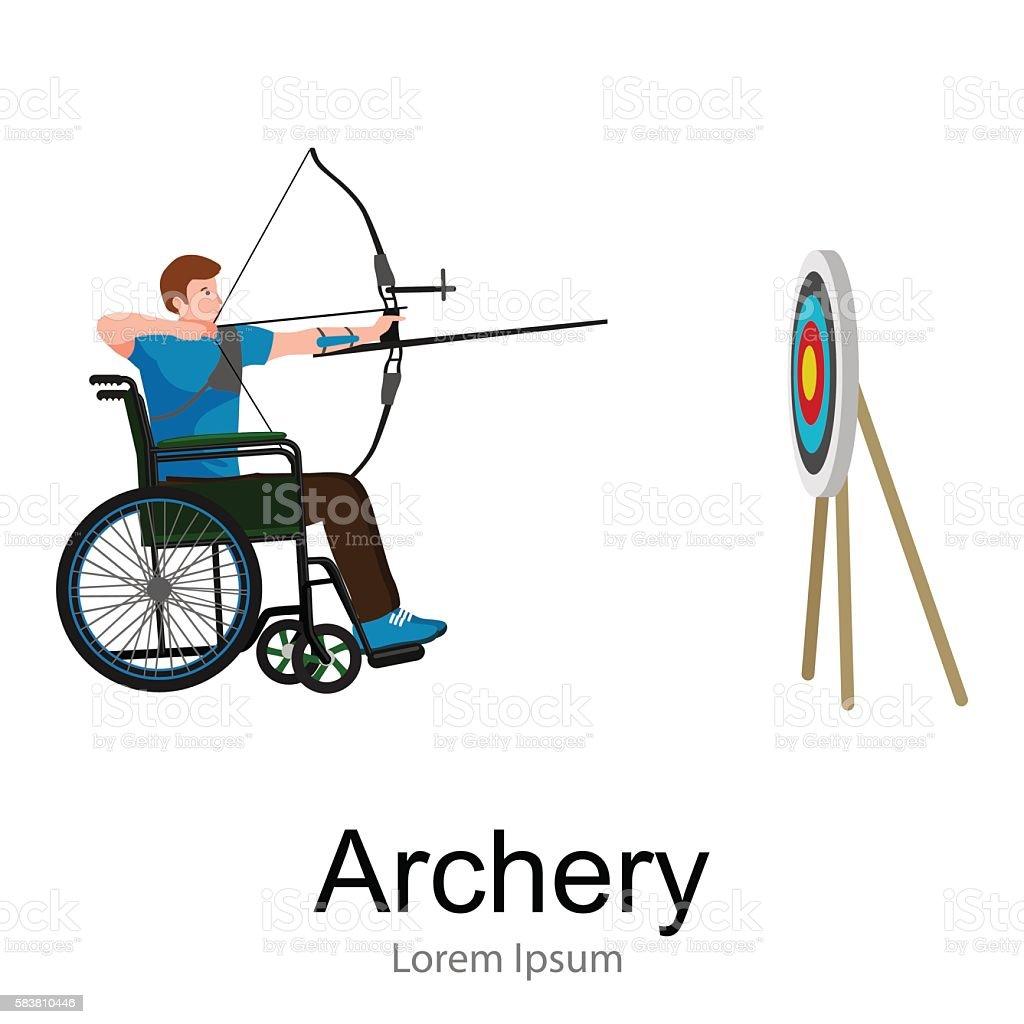 rio 2016, brazilian archery game for handicapped, disability sport, athlete vector art illustration