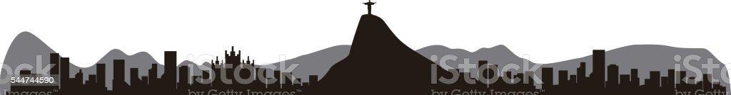 Rio de Janeiro Brazil skyline silhouette, vector illustration vector art illustration