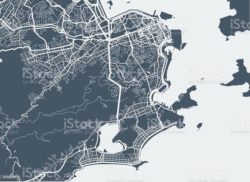 Rio De Janeiro city map vector art illustration