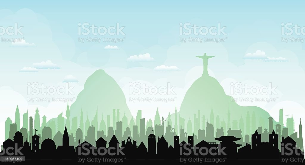 Rio de Janeiro (Each Building is Complete and Moveable) vector art illustration