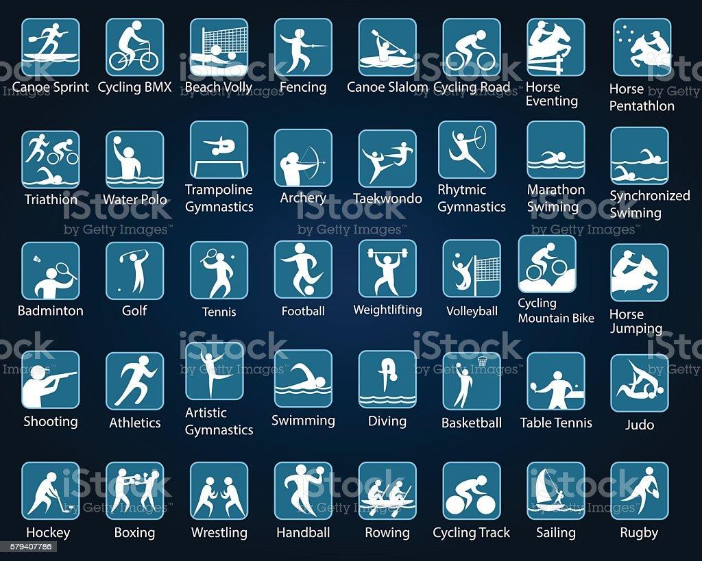 Rio summer games, sport disciplines vector art illustration