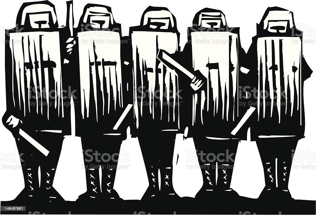 Riot Police vector art illustration