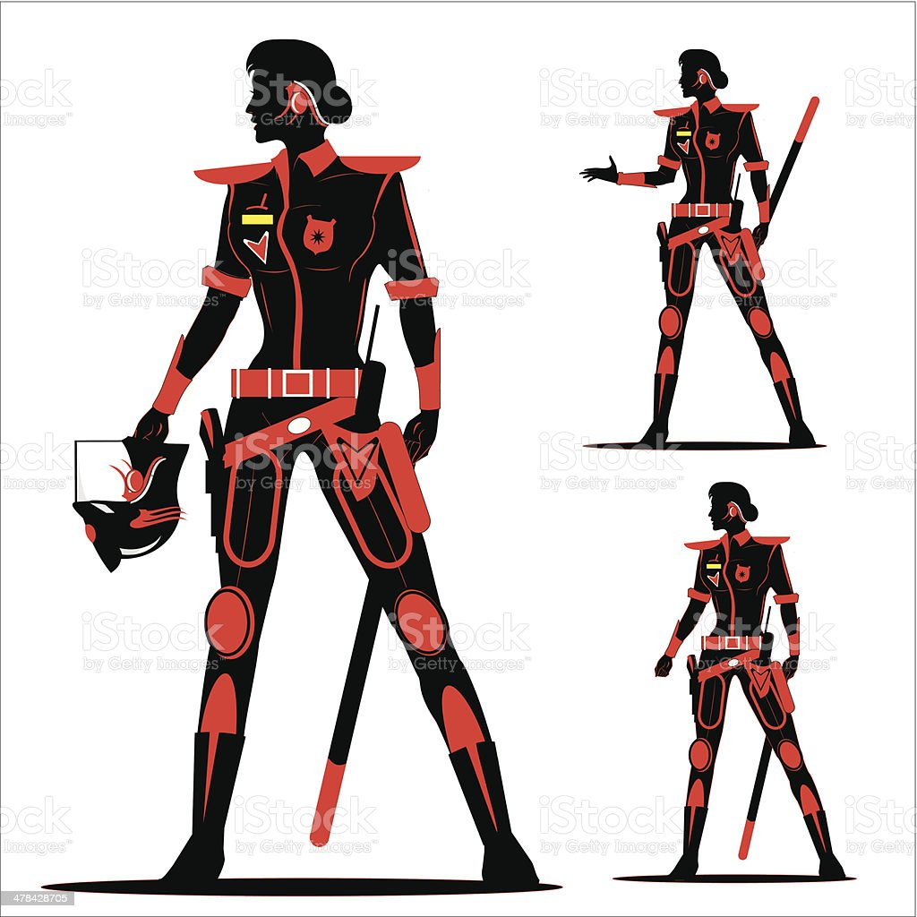 riot policewoman without helmet  in Black & Red vector art illustration