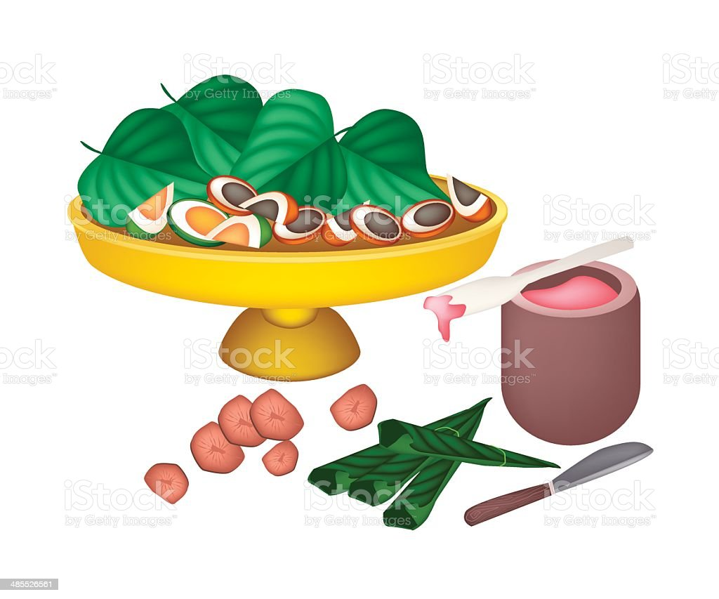 Ripe Areca Nuts and Betel Leaves on A Tray vector art illustration