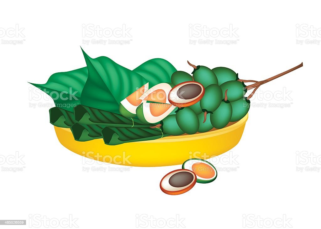 Ripe Areca Nuts and Betel Leaves on Gold Tray vector art illustration