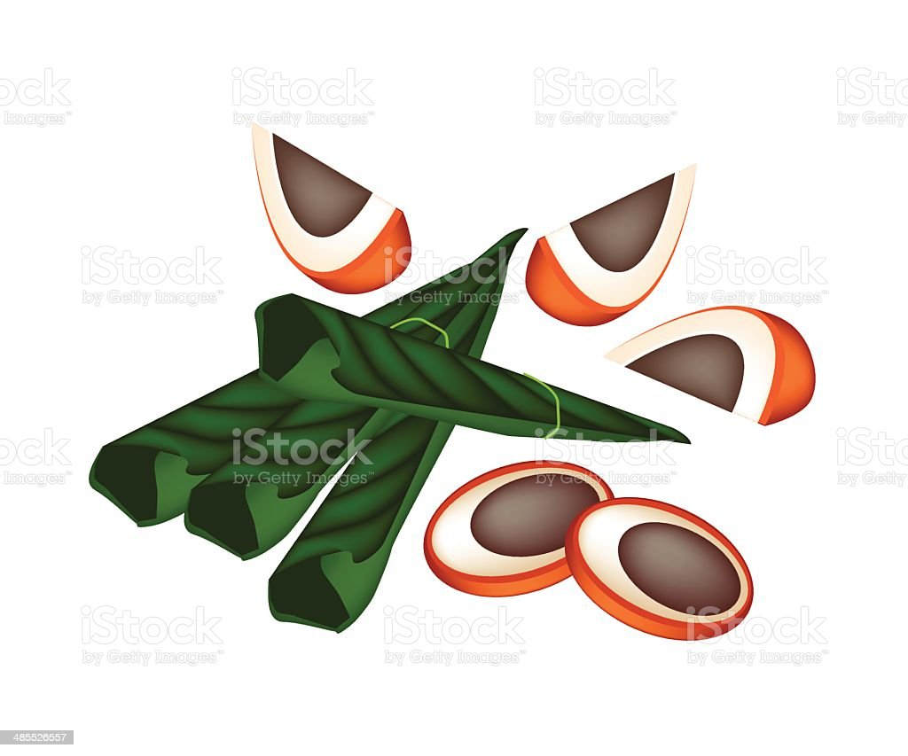 Ripe Areca Nuts and Betel Leaves on White Background vector art illustration