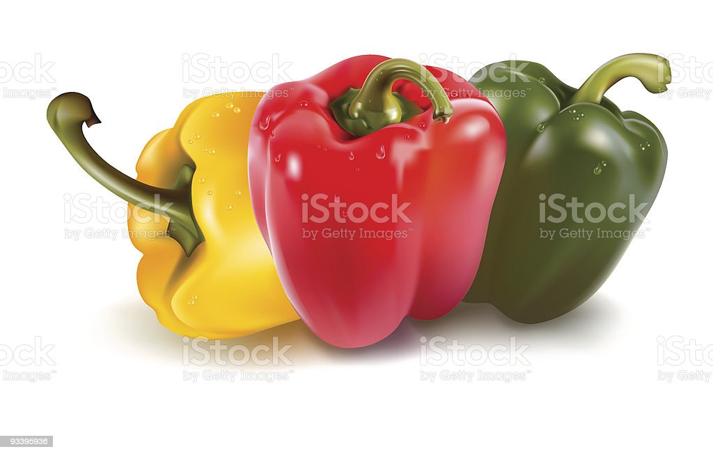 Ripe colored peppers. royalty-free stock vector art