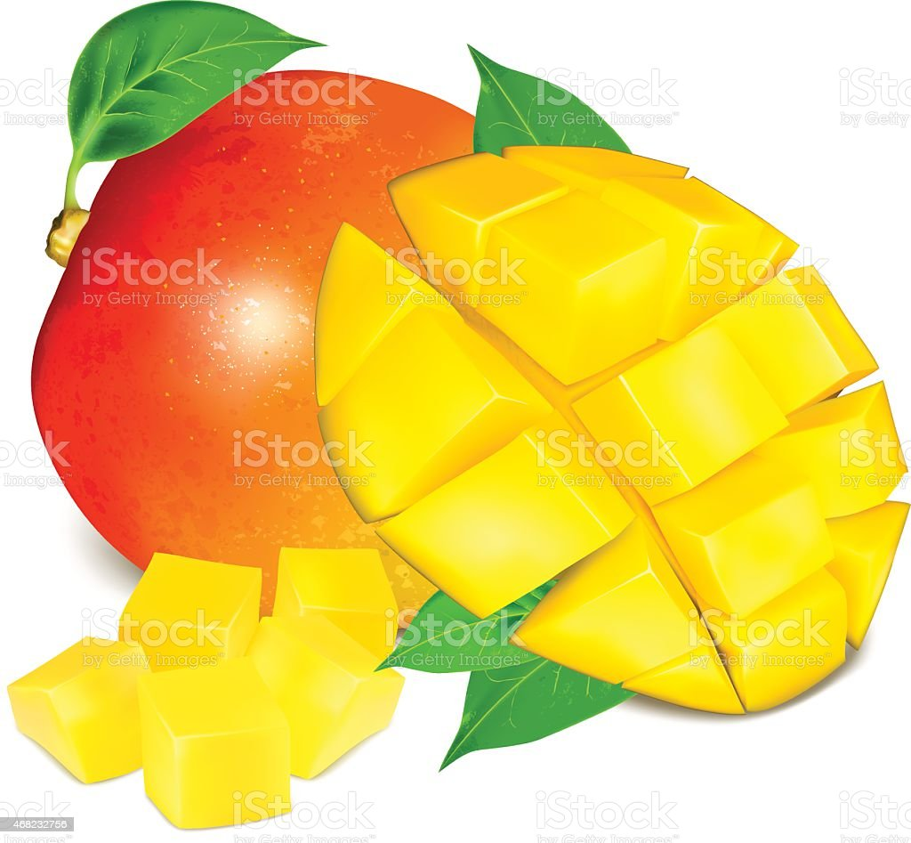 Ripe fresh mango with slices and leaves. vector art illustration