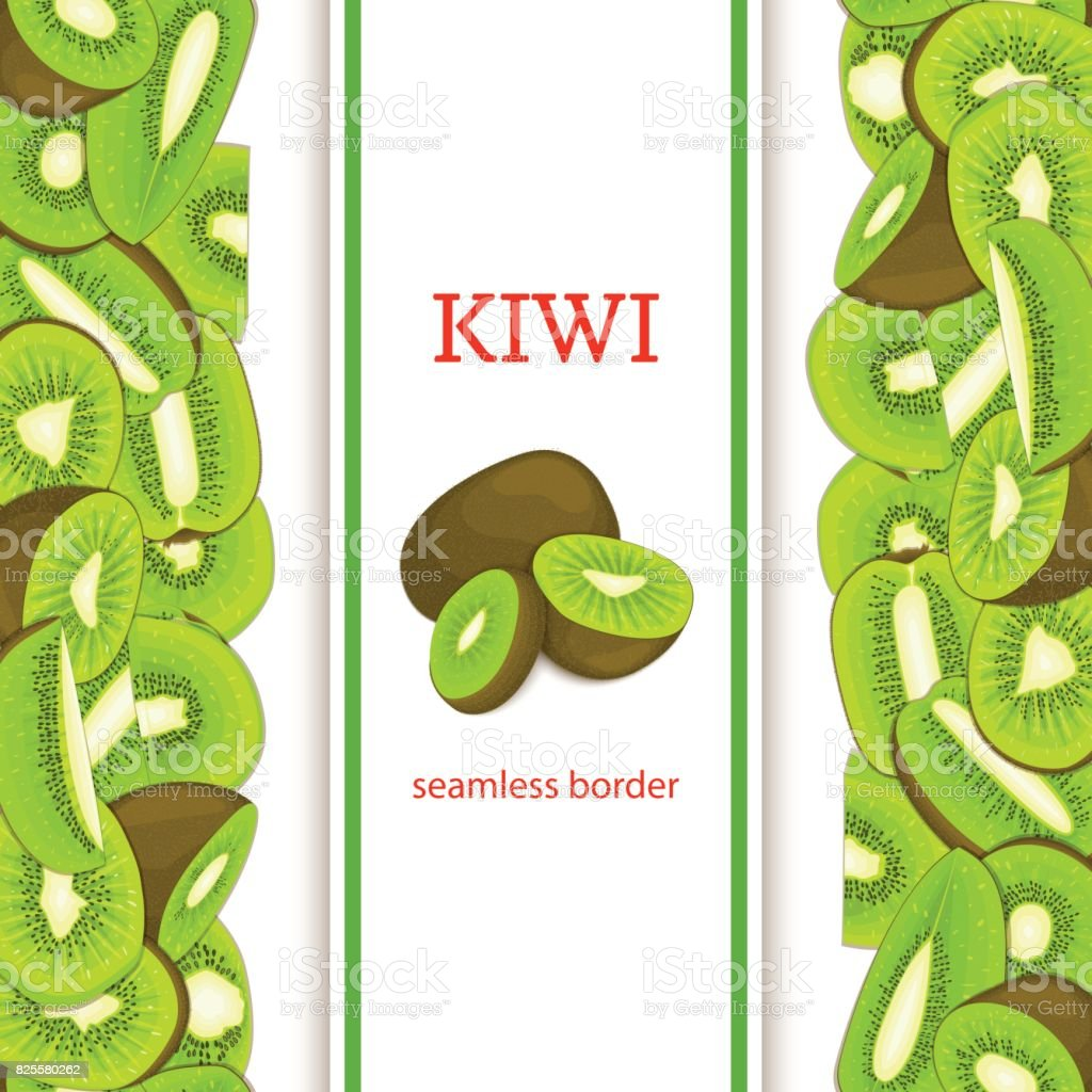 Ripe green kiwifruit vertical seamless border. Vector illustration card with composition Juicy fresh kiwi fruits slice, leaf appetizing looking for packaging design of juice breakfast, healthy eating vector art illustration