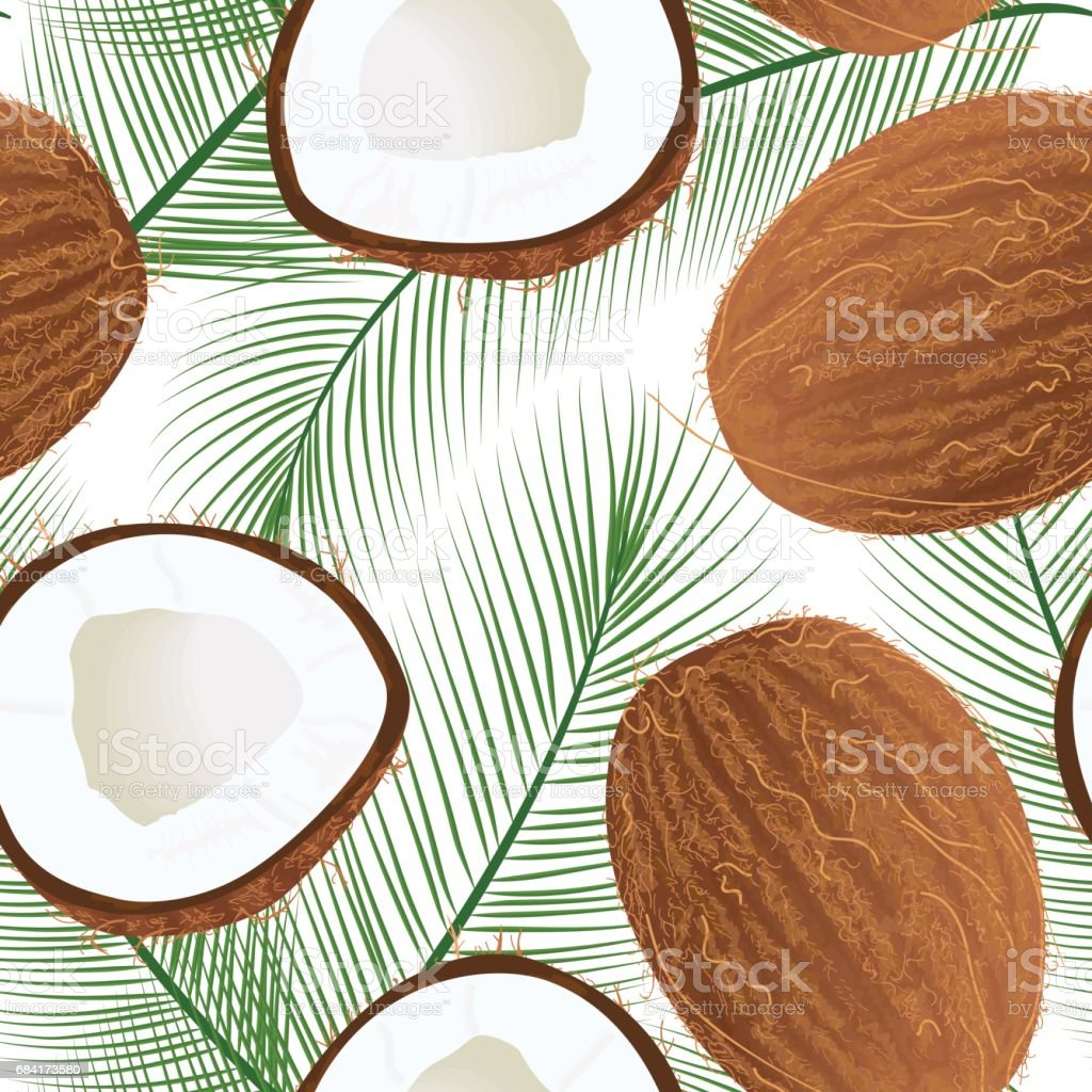 Ripe juicy coconut with leaf isolated on white. seamless pattern vector Whole and half vector art illustration