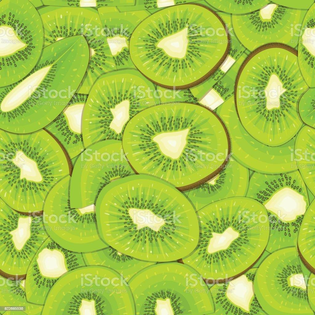 Ripe juicy kiwi seamless background. Vector card illustration. vector art illustration