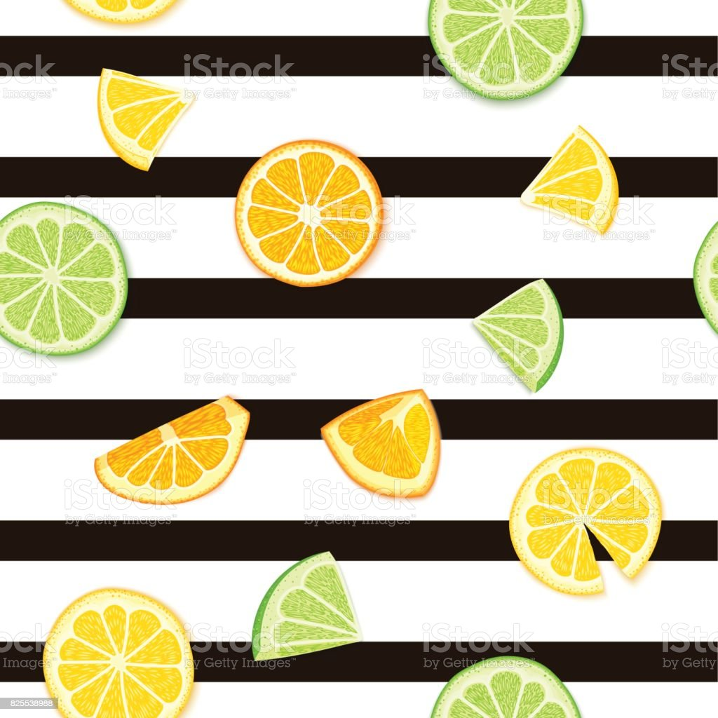 Ripe juicy tropical fruit striped seamless background. Vector card illustration. Fresh citrus lime orange lemon fruit on black lines. Seamless pattern for packaging design healthy food juce detox diet vector art illustration